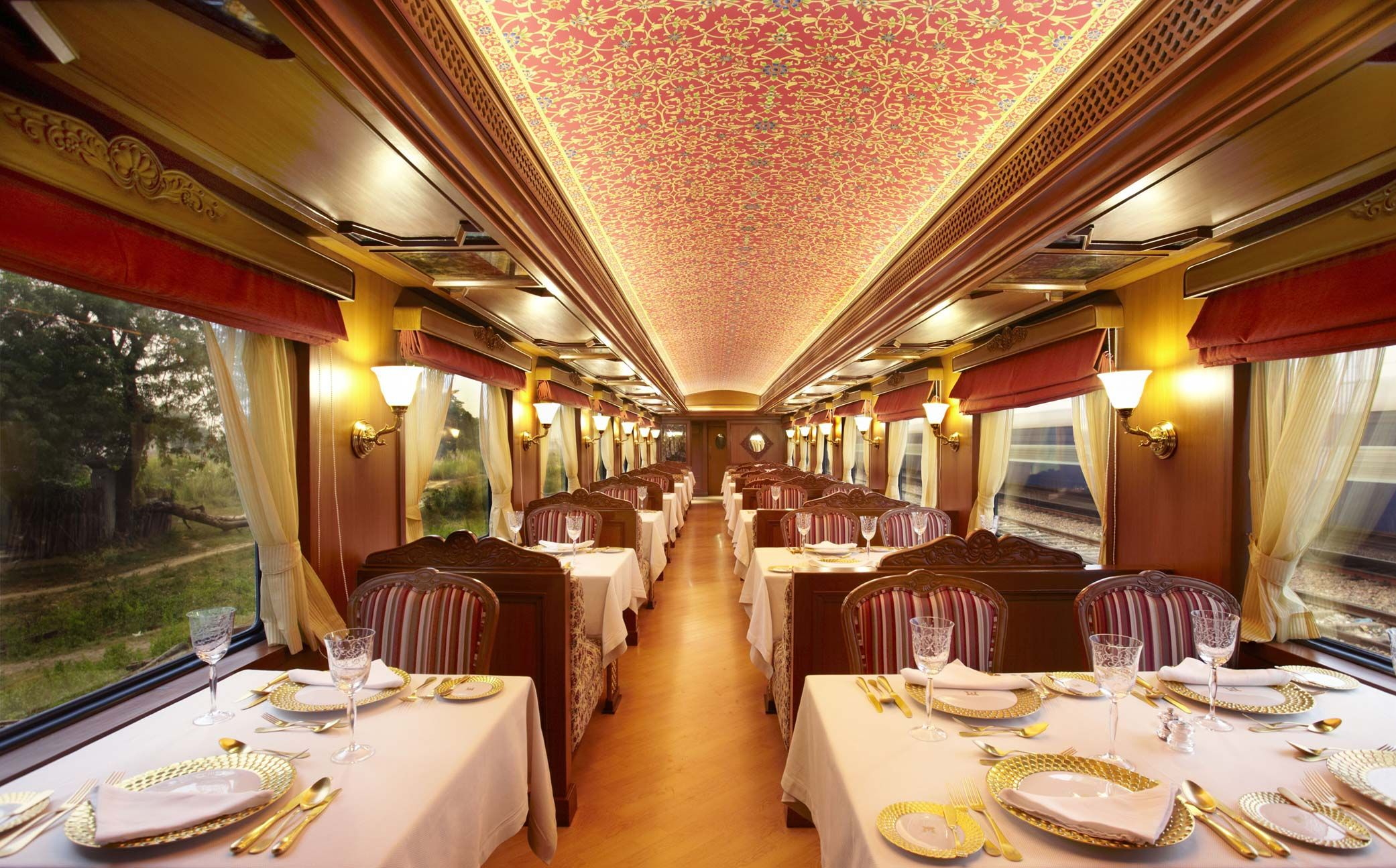two dining cars on the Maharaja Express