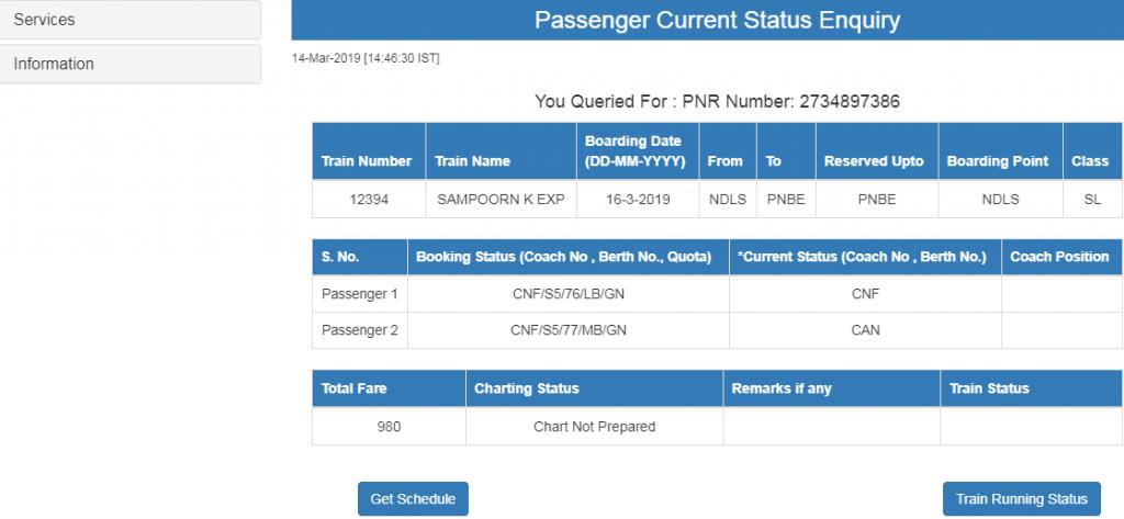 PNR Status Details