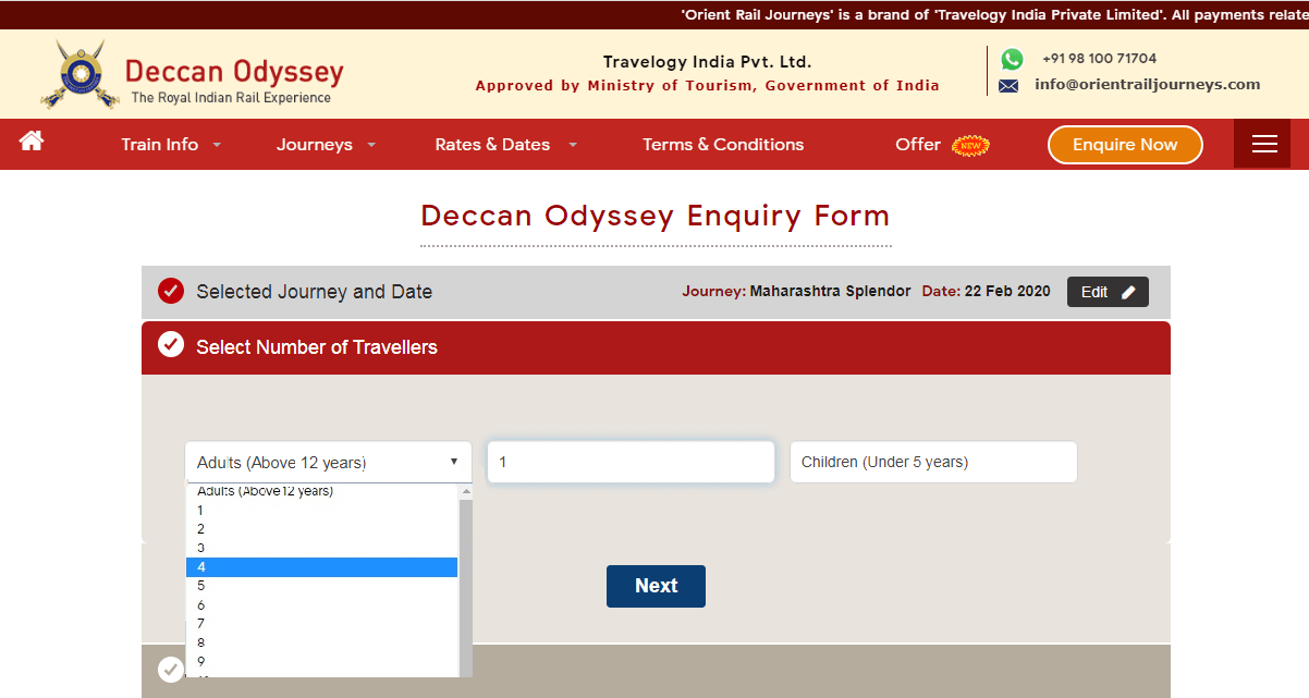 deccan odyssey booking step 3