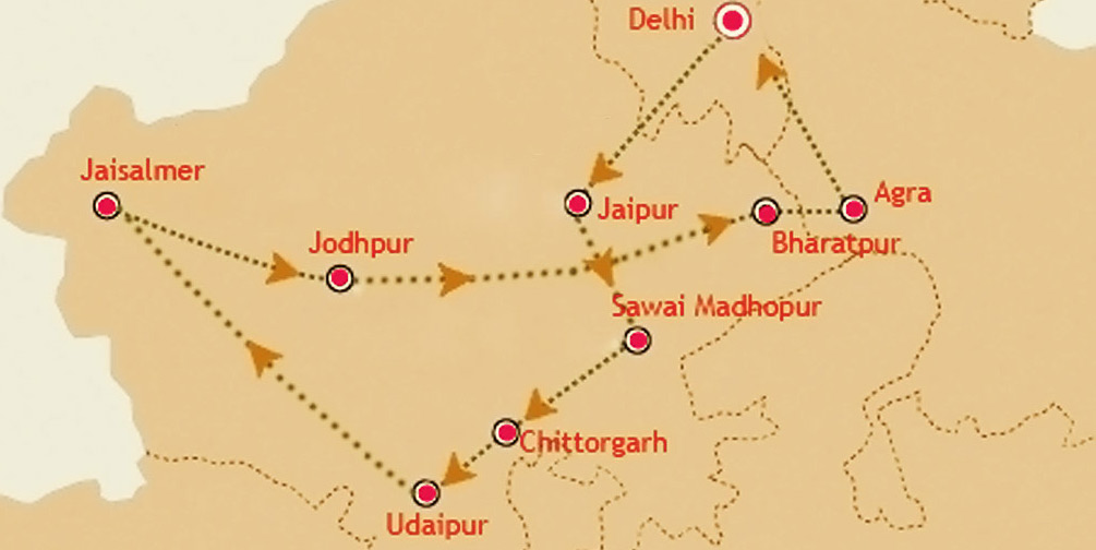Palace on Wheels Route Map and Direction on